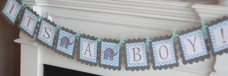 Other Colors Elephant Baby Shower Unisex Yellow /& Grey Chevron Elephant It/'s a Girl It/'s a Boy or Mommy to Be Baby Shower Banner Sign