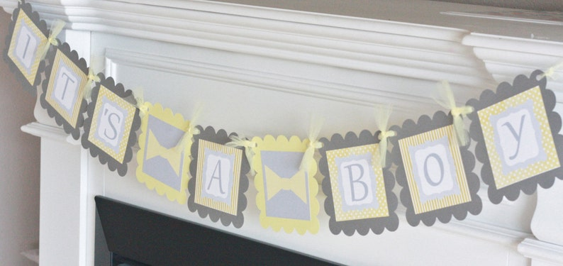 Bowtie or Mustache Yellow Grey Other Colors Available Its a Boy or Little Man Yellow and Grey Baby Shower Banner