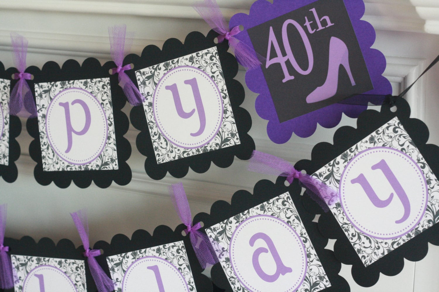 Happy 65th 50th 30th 21st Birthday Purple Black White Scroll