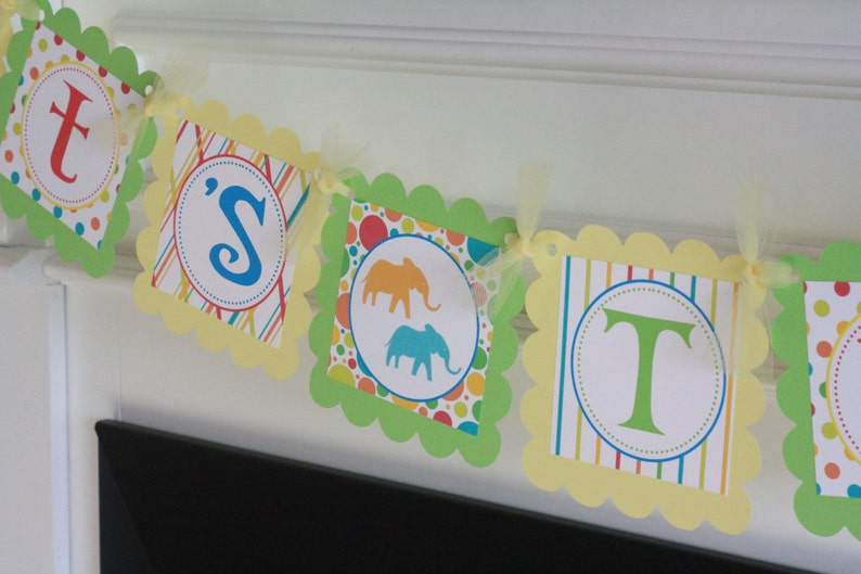 Elephant Green Yellow Red Blue Primary Color It/'s a Girl It/'s a Boy or It/'s Twins Baby Shower Banner Sign Toppers  /& Door Sign Avail