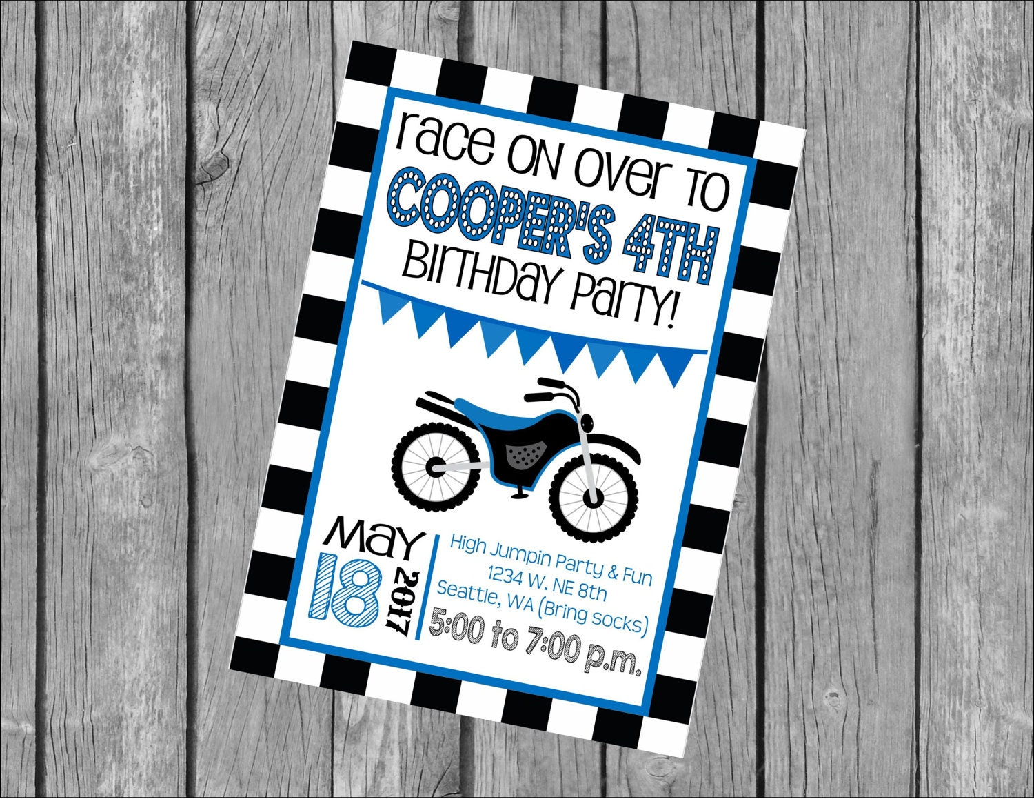 image relating to Checkered Flag Printable known as Custom-made 5x7 Printable OR Published Invitation WITH Envelopes