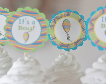 12 - Oh Places You'll Go Balloon Storybook Book Green Turquoise Baby Shower Theme Cupcake or Cake Toppers - Party Pack Sale
