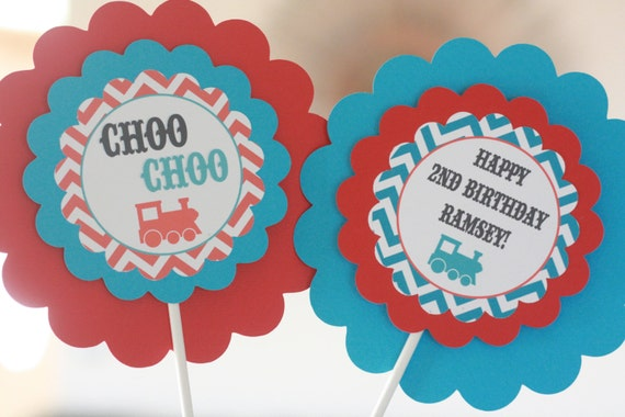 Happy Birthday Vintage Train Theme Banner Red Turquoise Blue