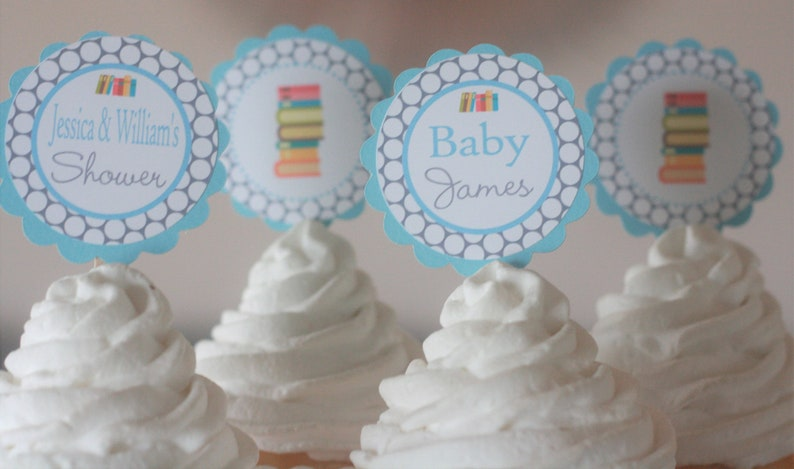 12 Banners Elephant Baby Shower Cupcake Toppers Pink Party Packages Favor Tags Turquoise Blue /& Grey Chevron Door Signs Available