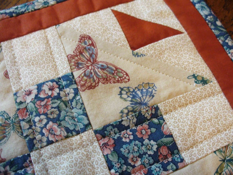 Machine Quilted Wall Hanging Mug Rug Traditional Patchwork Blue Teal Rust Tan Butterflies Floral Mini Quilt Snack Mat OOAK