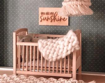 Miniature Handmade Chunky Knit Blanket