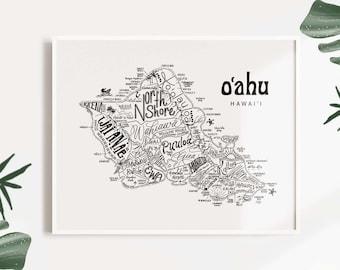 O'ahu, HI Illustrated Font Map Print - Oahu- Map of Oahu - Oahu Map-Typographic Map - Cartography - Font Map - Hawaii gift