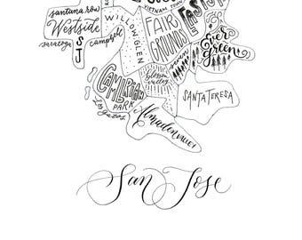 San jose map etsy san jose ca neighborhood map hand lettered printed malvernweather Choice Image