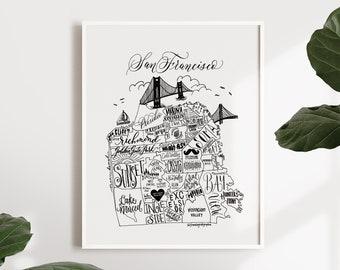 San Francisco Neighborhood Map Print - San Francisco Map - Map of San Francisco - SF Poster - San Francisco Word Map - Typographic Map