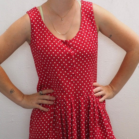 Vintage 90s Laura Ashley red and white polka dot … - image 1