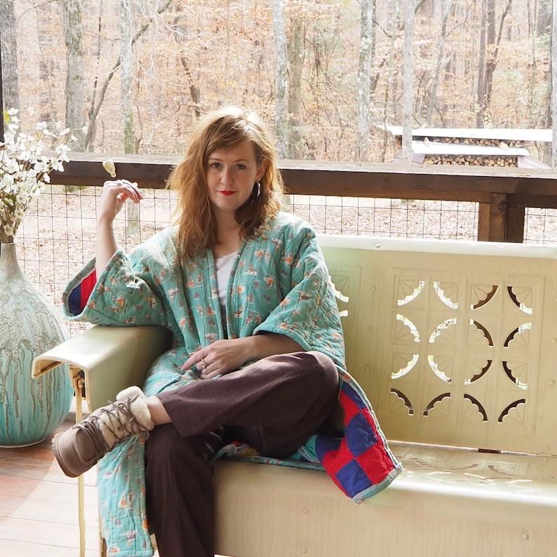 Handmade antique Quilt coat kimono smallmedium