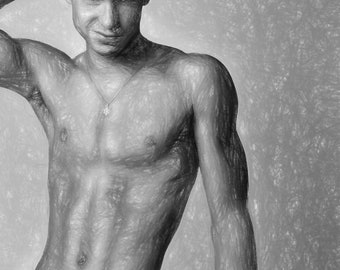The Smirk Gay Art Male Art Print by Michael Taggart Photography muscle muscles muscular strong abs torso