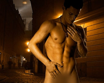 Streetlight Gay Art Male Art Nude Photo Print by Michael Taggart Photography night cobblestone mysterious dark touch
