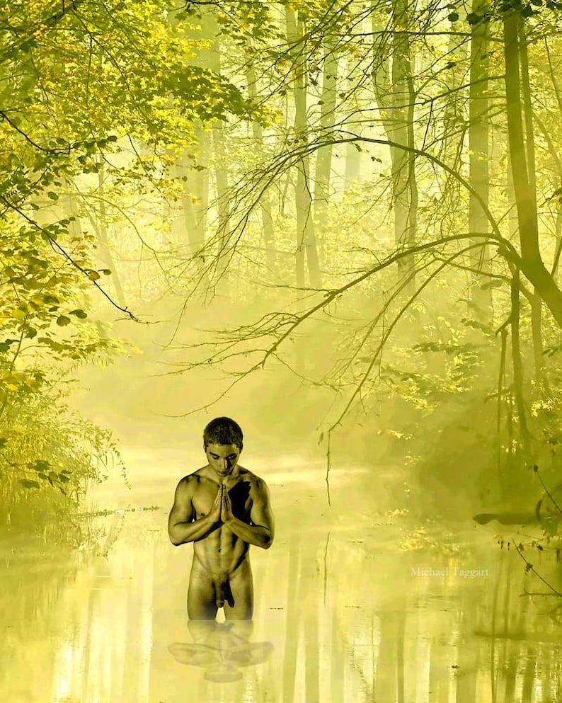 Forest Druid Prayers Gay Art Male Art Nude Digital Download JPG Photo by  Michael Taggart Photography monochromatic green river muscular abs