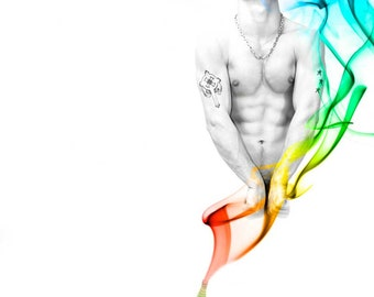 Genie Day Gay Art Male Art Digital Download JPG Photo by Michael Taggart Photography djinn shirtless muscular abs tattoo tattoos rainbow
