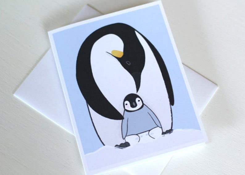 Penguin Baby Shower Card  New Baby Boy  New Baby Girl Card image 0