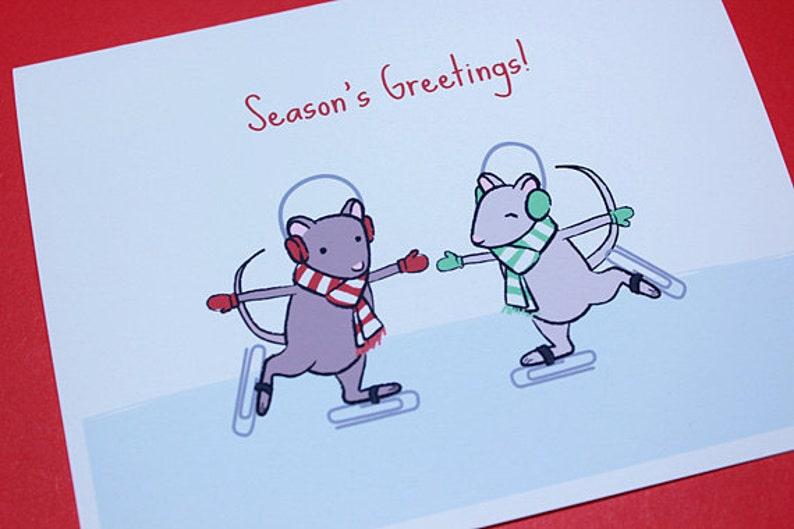 Mouse Christmas Card Set  Ice Skating Mice Holiday Cards image 0