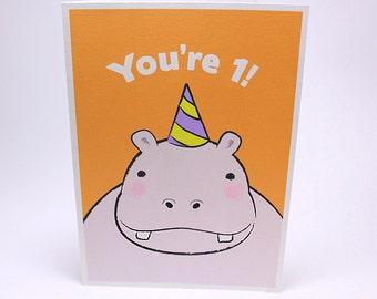 1st Birthday Card - Kids First Birthday Greeting Cards - Hippo