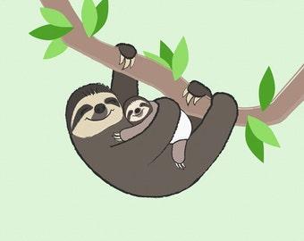 Sloth Nursery Art - Children's Bedroom Print