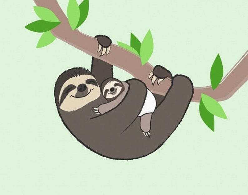 Sloth Nursery Art  Children's Bedroom Print image 0