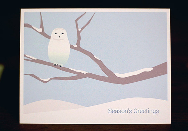Snowy Owl Christmas Cards  Minimalist Holiday Card Set of 6 image 0