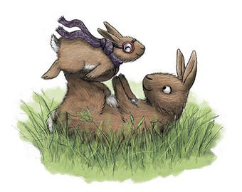 Baby Bunny Rabbit Nursery Art - Airplane Kids Bedroom Decor - Cute Children's Art 5x7 Mini Print