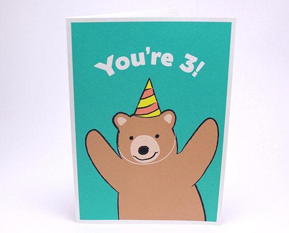 3rd Birthday Card Kids Third Birthday Card Bear Etsy