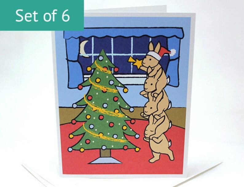 Bunny Rabbit Christmas Cards  Holiday Christmas Card Set Set image 0