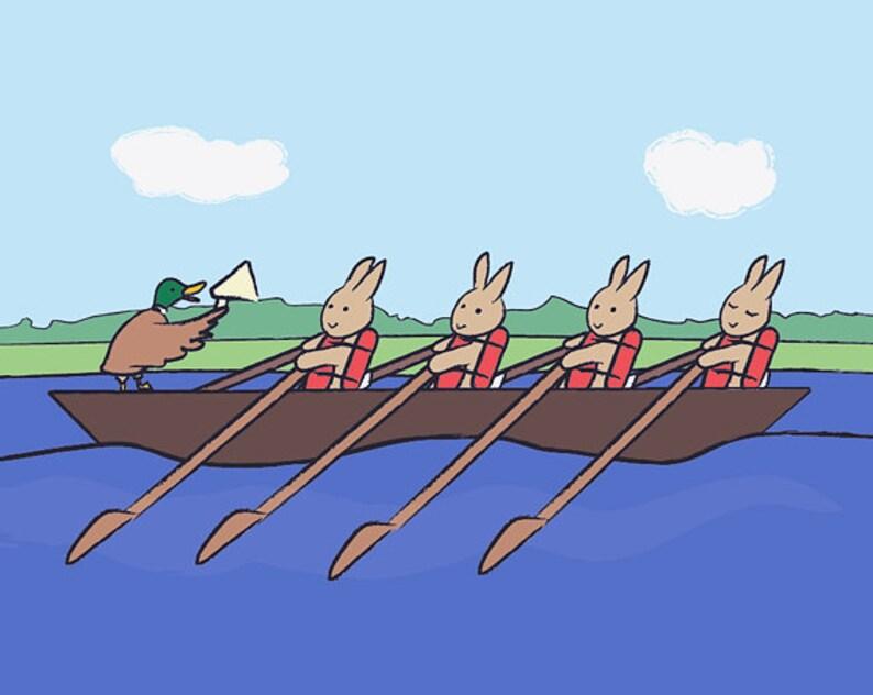Bunny Wall Art  Rowing Rabbit Children's Bedroom Decor  image 0