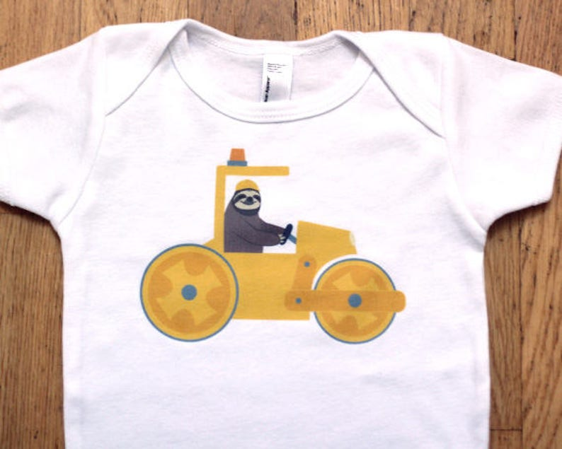 Construction Baby Clothes  Sloth Baby Bodysuit  Construction image 0