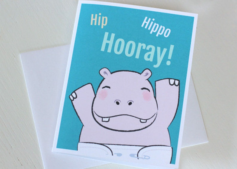 Baby Shower Card  New Baby Hippo Card image 0