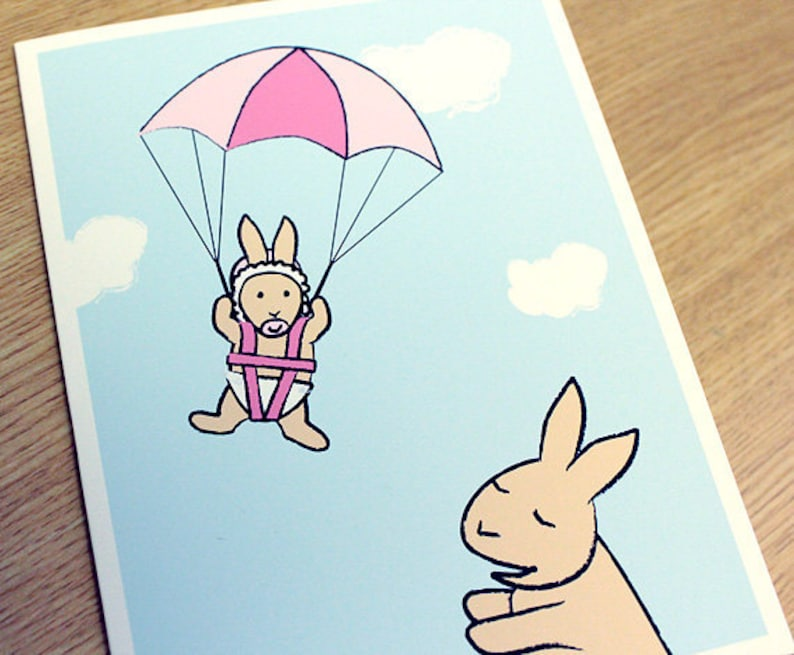 New Baby Girl Card  Baby Shower Card  Bunny Rabbit Greeting image 0