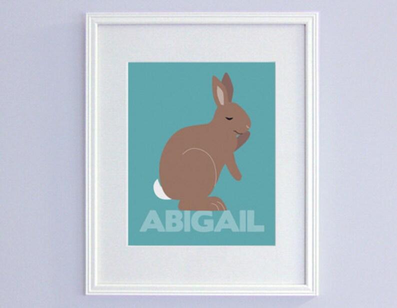 Personalized Bunny Nursery Decor  Kids Name Art image 0