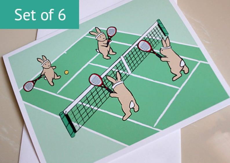 Bunny Rabbit Card  Tennis Cards  Blank Notecard Set Set of image 0