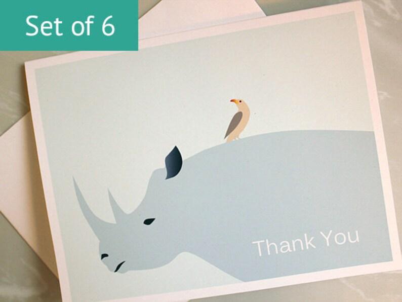 Animal Thank You Card Set  Rhino Cards   Eco Friendly image 0