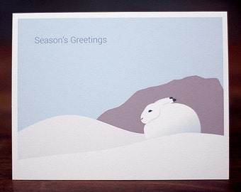Bunny Christmas Cards - Minimalist Holiday Card Set of 6