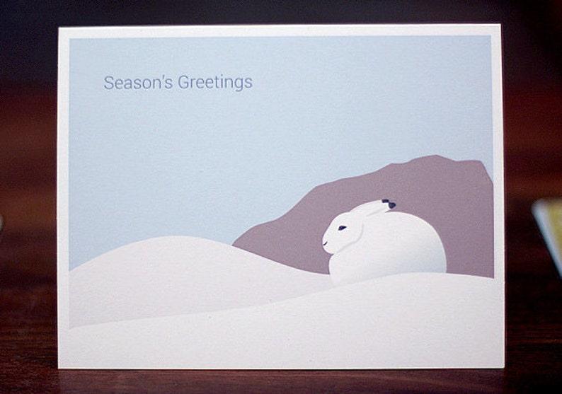 Bunny Christmas Cards  Minimalist Holiday Card Set of 6 image 0