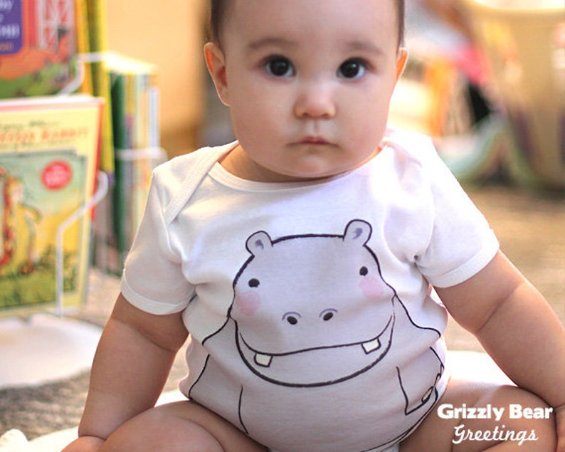 Hippo Baby Clothes  Baby Boy Bodysuit  Baby Girl Baby image 0