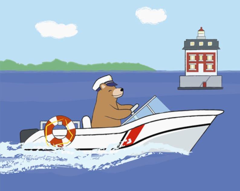 Coast Guard Nursery Art  Bear at Lighthouse  New London image 0