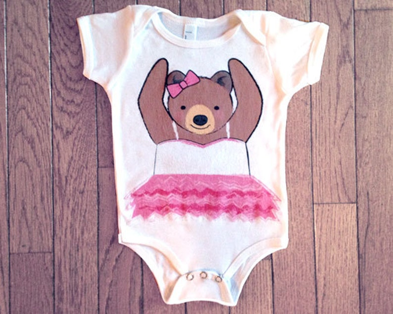 Bear Bodysuit Baby Girl Ballerina Baby Bodysuit Ballet Baby Clothes 3-6 mo