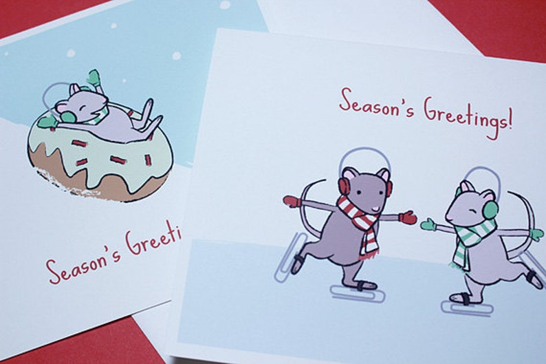 Mouse Christmas Cards  Cute Holiday Card Set of 6 image 0
