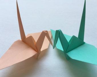 10 Japanese Paper Cranes Origami Crane with Peonies
