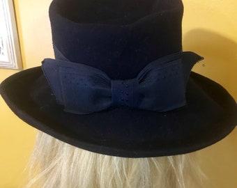 Vintage Navy Blue Wool Felt Floppy Hat 8b23545be7db