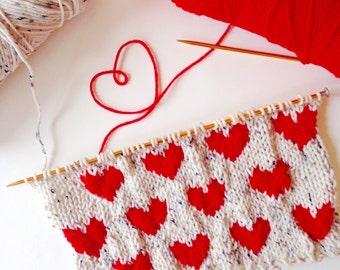 Knit Hearts Pattern