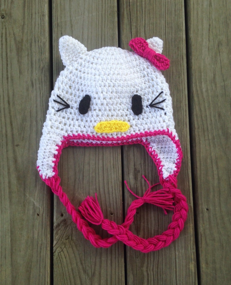 Crochet Hello Kitty Hat Newborn Adult Sizes Etsy