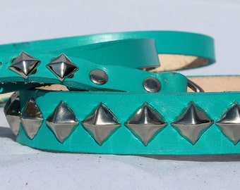 Turquoise Leather Dog Collar with Pyramid Studs with matching leash