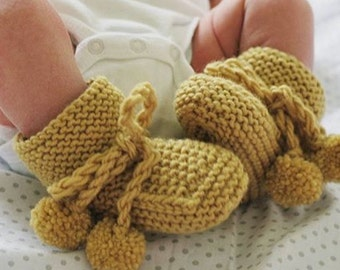 PARIS Hand knitted Pom Pom Booties for Baby Boy or Girl NB to 12M Made to Order Custom Colour