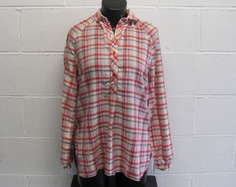 Womens Vintage 1970s / 80s Plaid Collared Button Down Long Sleeve Top blouse Shirt Retro Plaid Top S