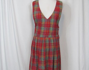 3095a75aede4d Vintage 90s Red PLAID Cotton Jumper Dress   Maxi Dress   Super Cute Fall  Dress   Tartan   1990s   Sleeveless   Maxi   V Neck   Pinafore