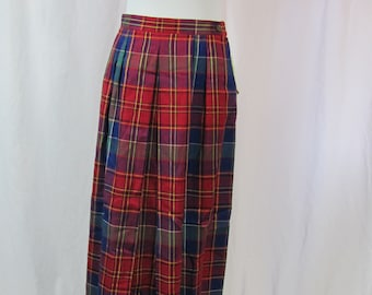 Womens Vintage Retro High Waist Plaid Pleated Skirt With POCKETS